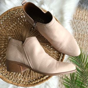 Franco Sarto Nude Blush Leather Ankle Boots 8.5